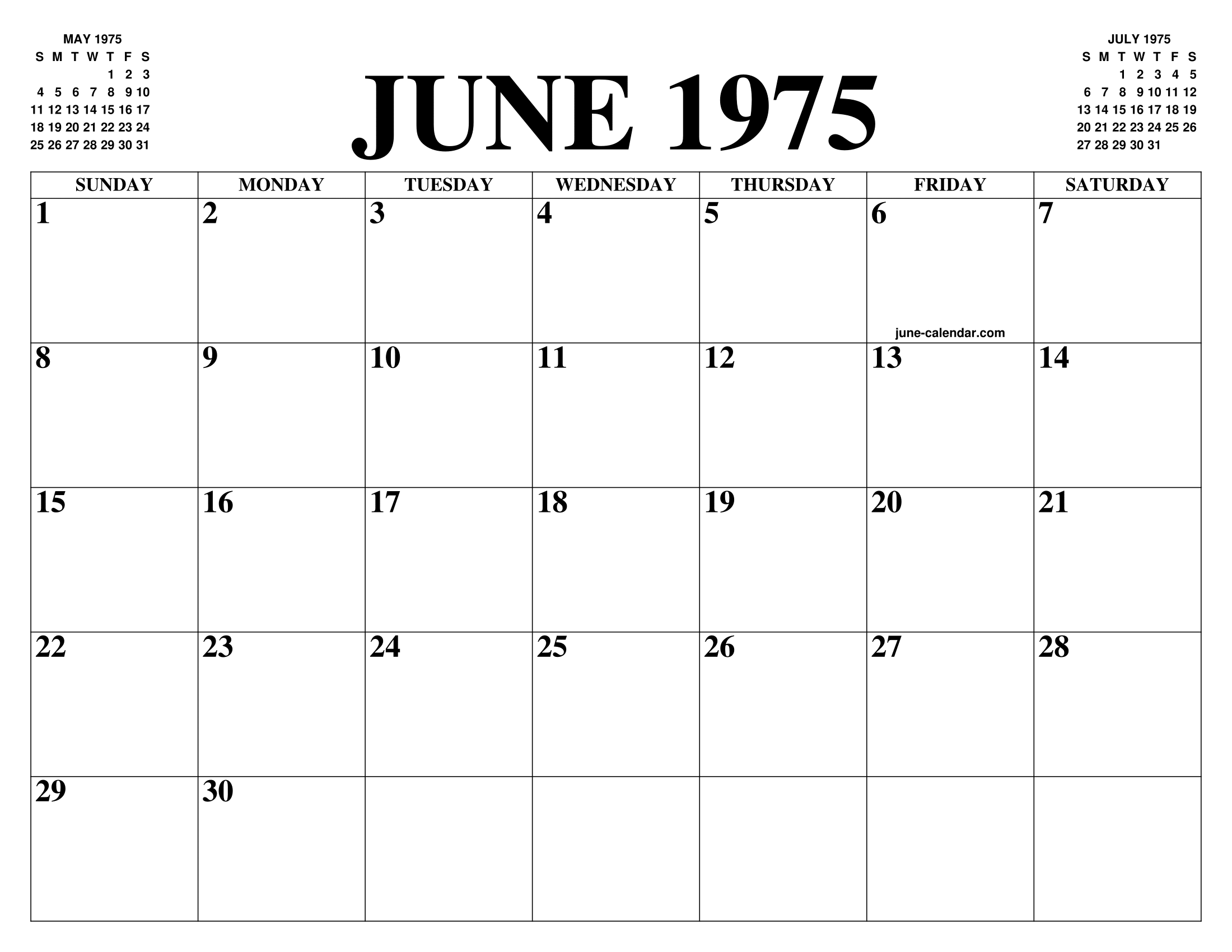 June 1975 Calendar Of The Month Free Printable June Calendar Of The