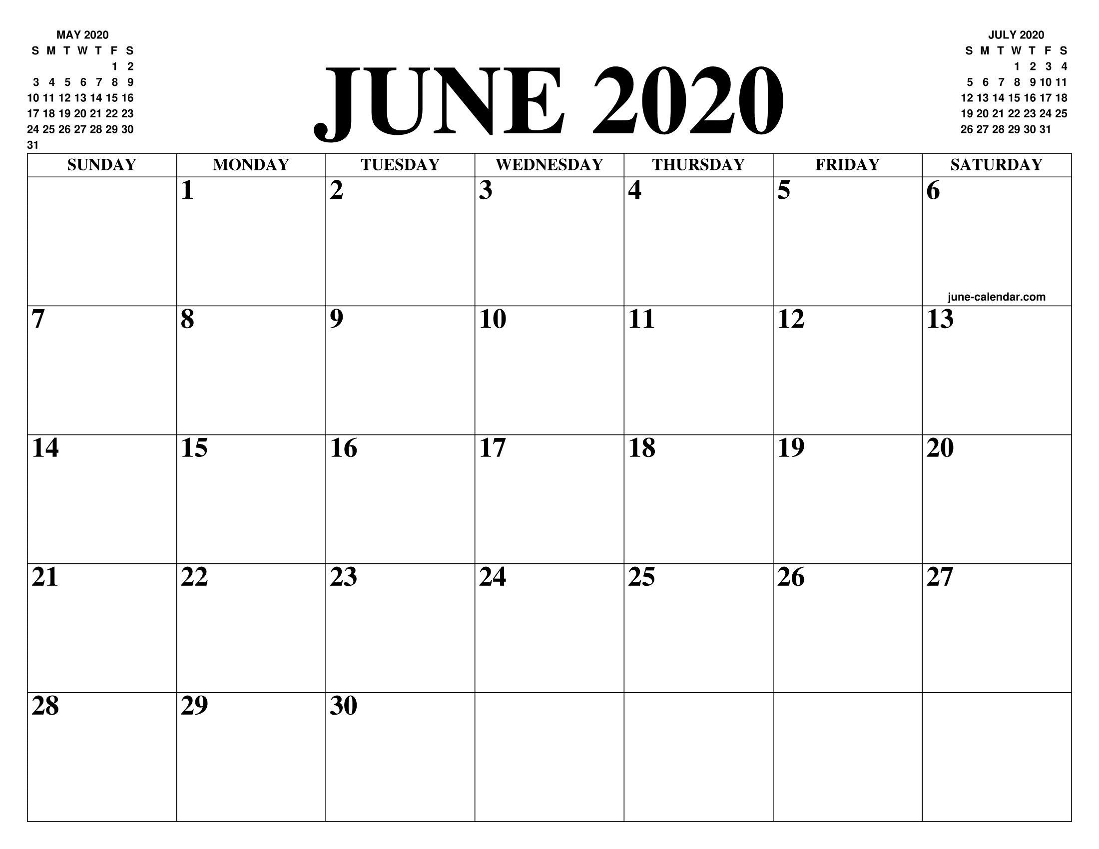 June 2020 Calendar Of The Month Free Printable June Calendar Of The