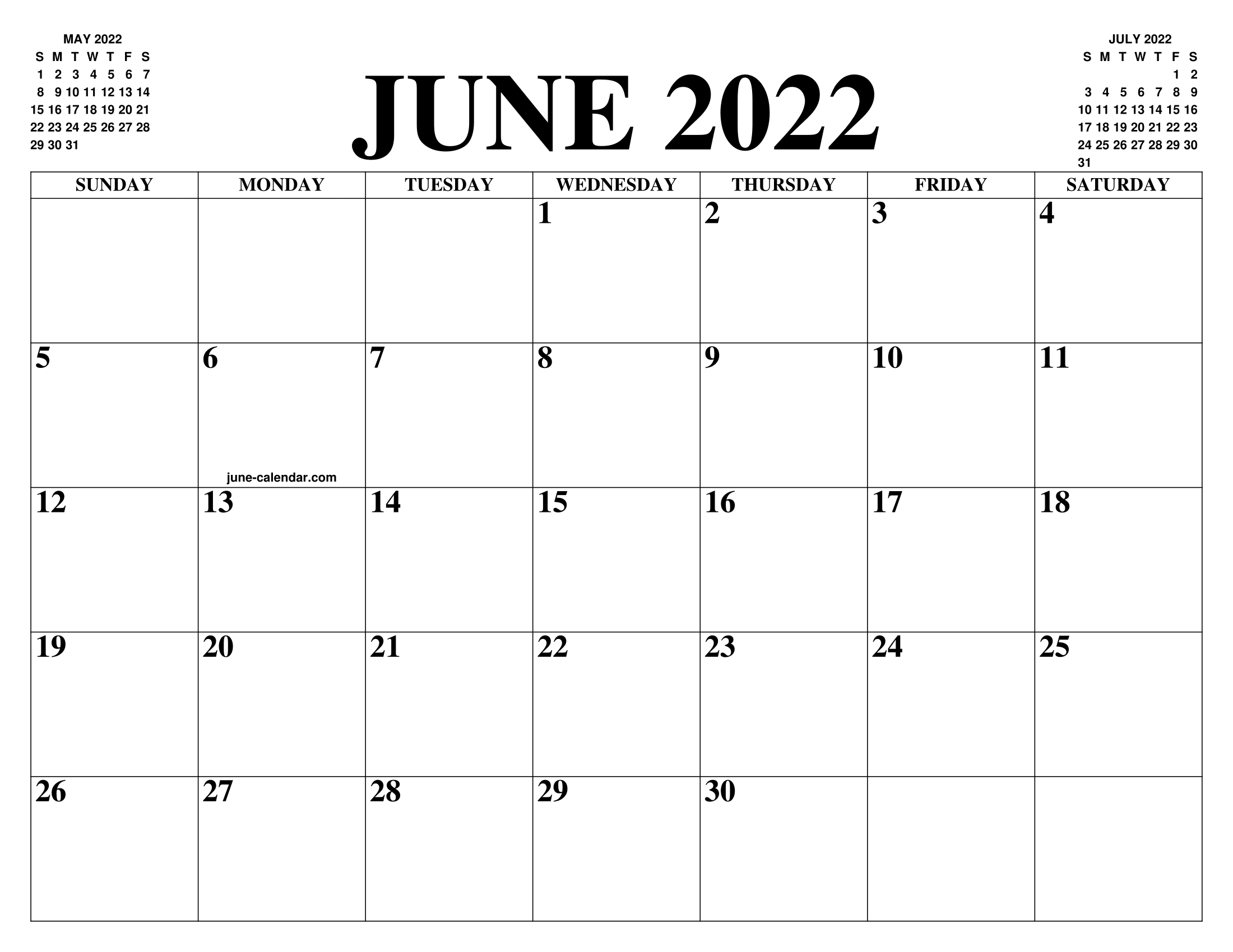 image regarding 2022 Calendar Printable identify JUNE 2022 CALENDAR OF THE Thirty day period: Cost-free PRINTABLE JUNE